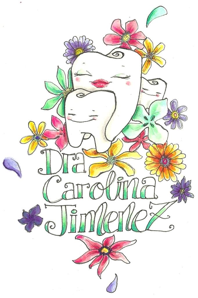 """ilustración de 1 muela madre con 2 muelas hijas, abrazadas, sonriendo y rodeadas de flores. Dice """"Dra Carolina Jimenez Yuste"""""""